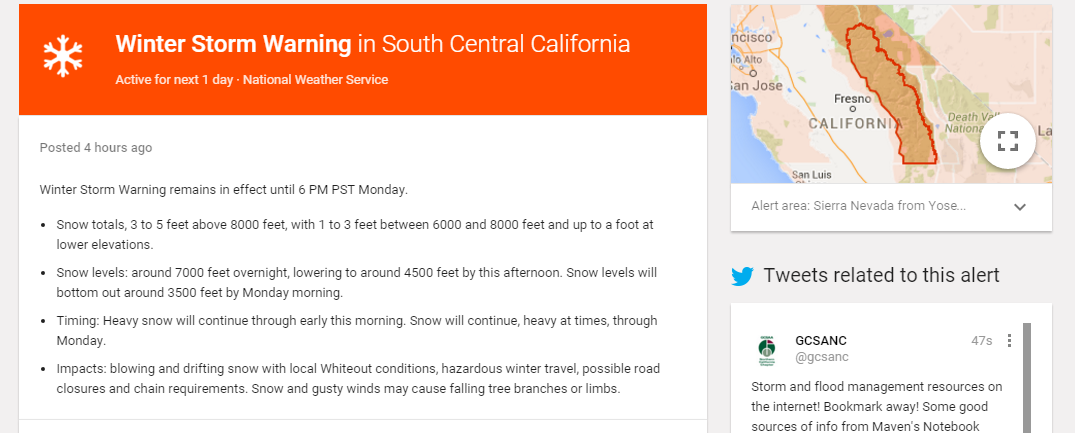 Winter Warning - California